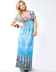 Deep V Cap Sleeve Printed Maxi Gown @ FlirtCatalog.com