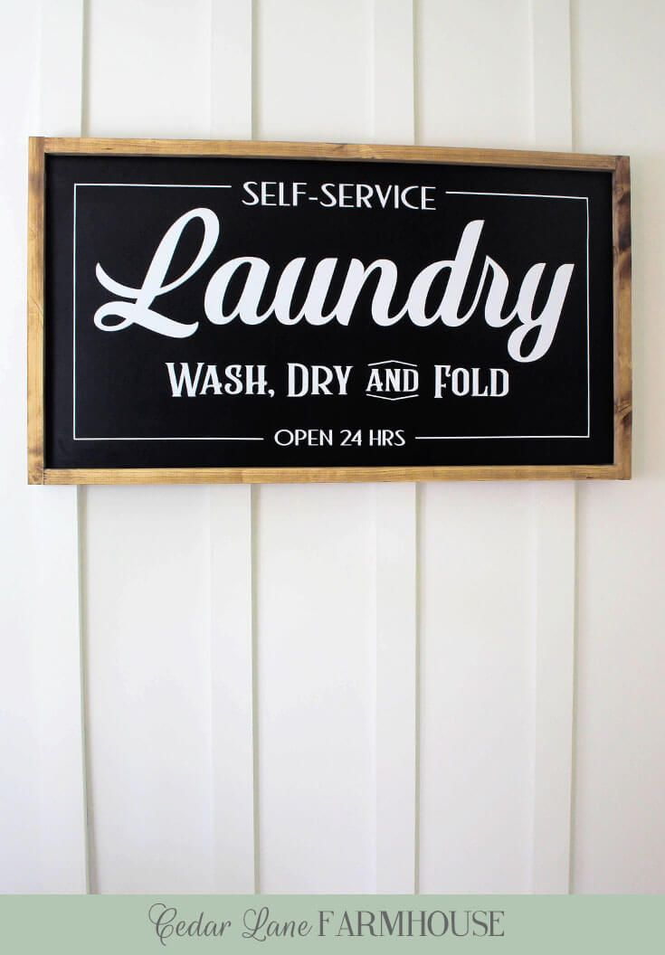 DIY Painted Wood Farmhouse Laundry Sign