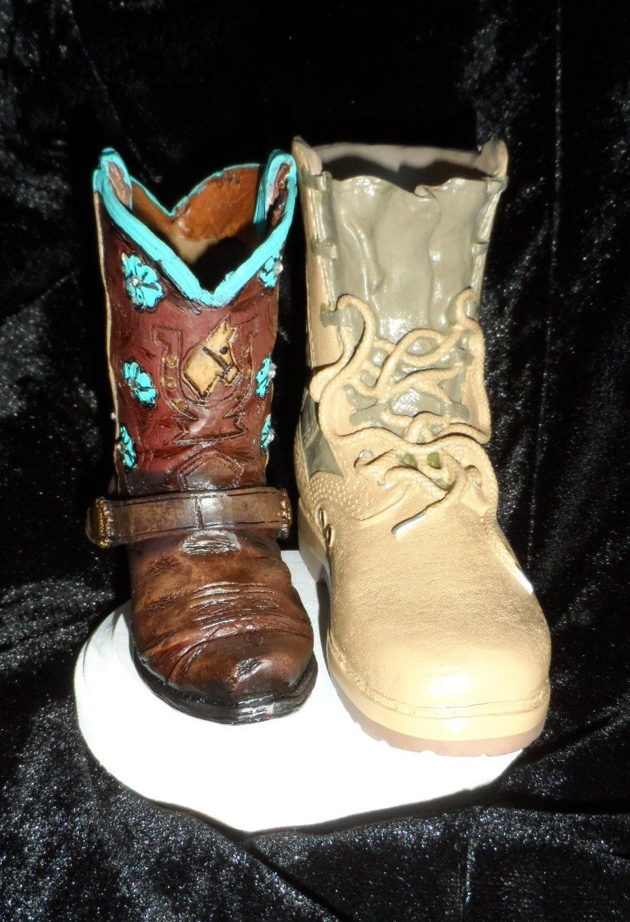Military boot and cowgirl boot cake topper. Perfect for the ...
