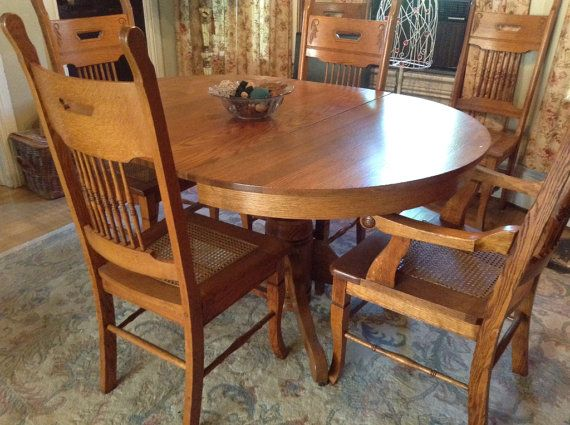 Vintage Oak Country Dining Room Table W 6 Chairs