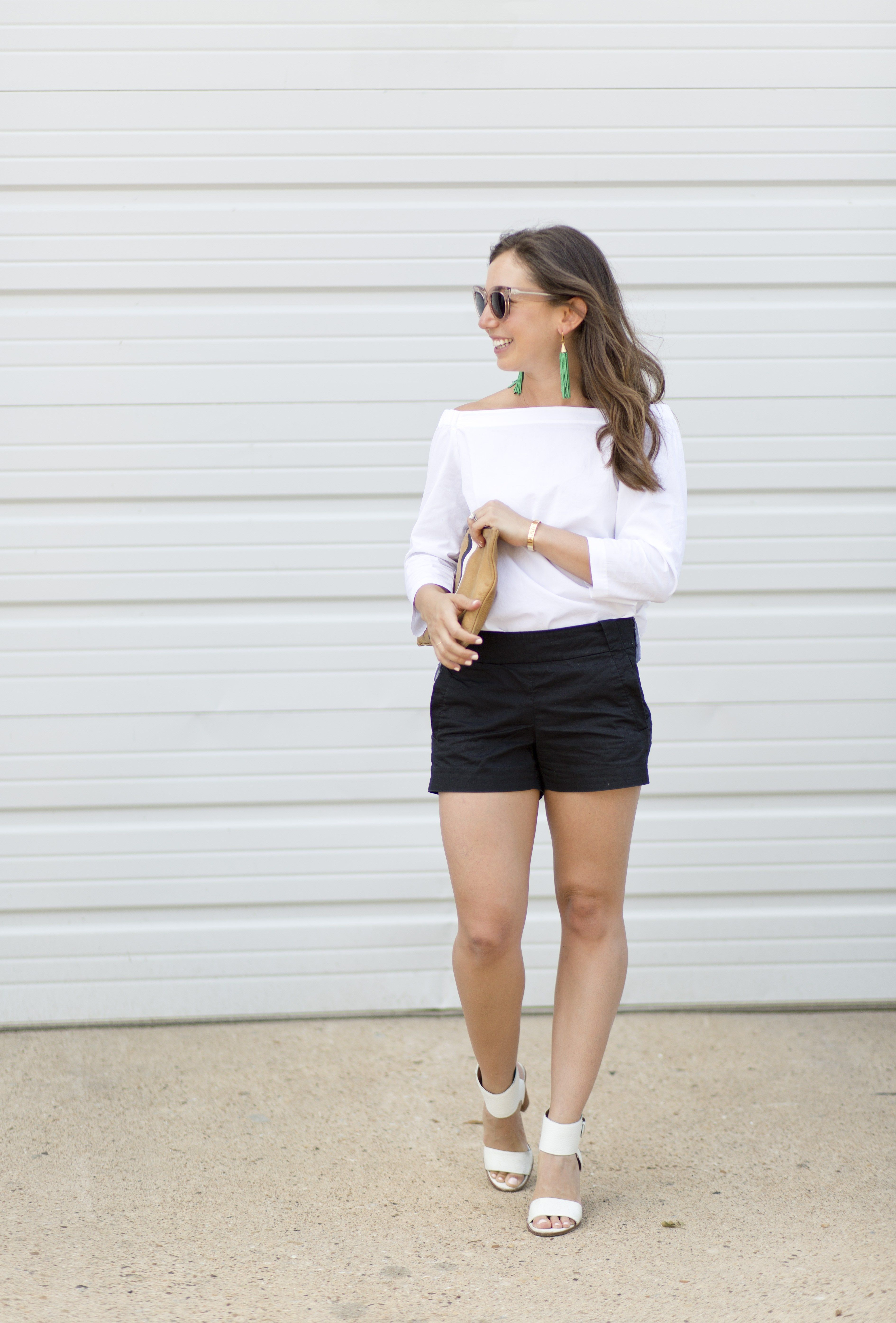 A story about two scars and a classic black and white look featuring a Theory Off-The-Shoulder Top and Black J.Crew Shorts.