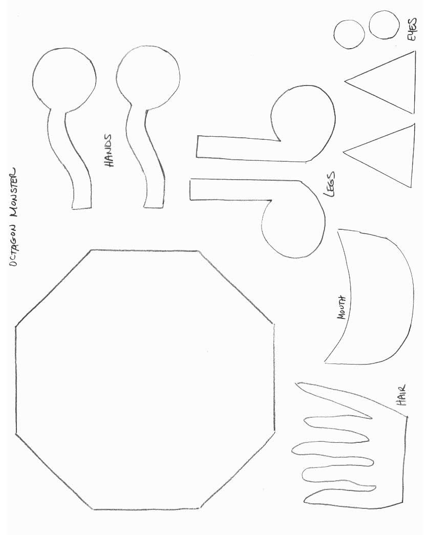 Shapes crafts print your octagon monster template at for Template monstre