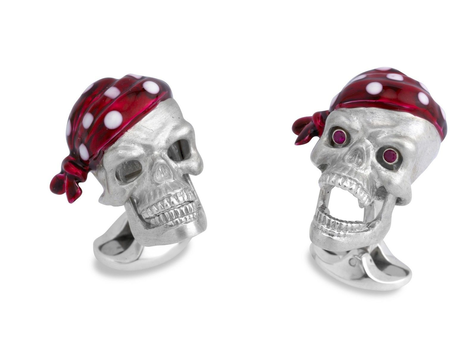 Deakin & Francis | Silver Pirate Skull Cufflinks with Ruby Eyes and Moveable Jaw | Max's