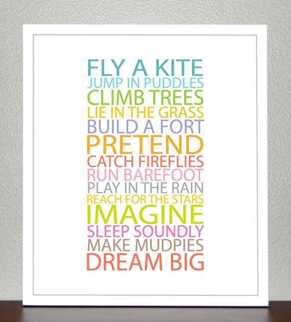 Nursery Ideas And Décor To Inspire You: Nursery Decor - BE A KID - 8x10 Print