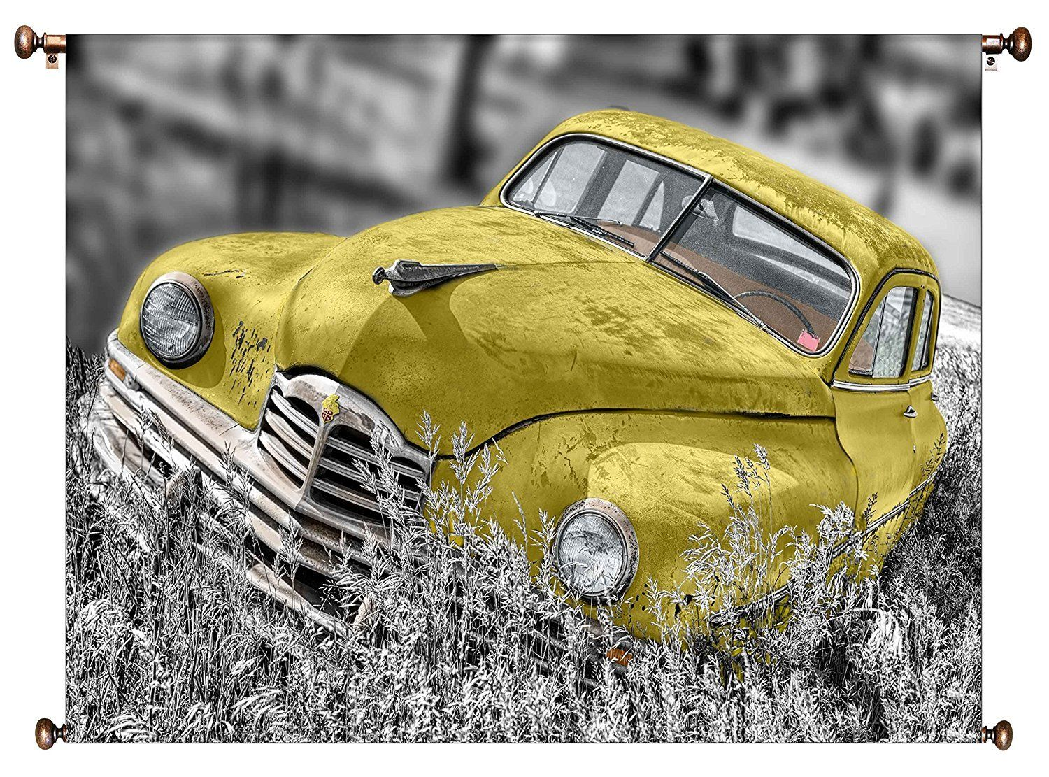 Old Timer Yellow Car Vintage Picture on Large Canvas Hung on Copper ...