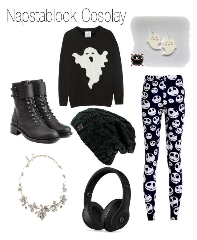 """Napstablook Cosplay"" by emilikessocks ❤ liked on Polyvore featuring Zoe Karssen, Philosophy di Lorenzo Serafini, Beats by Dr. Dre and Oscar de la Renta"