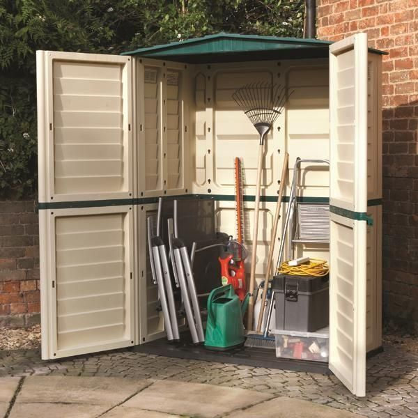 Ideal For Housing A Range Of Garden Tools Furniture And Accessories This Tall Plastic Storage Unit Offer Great Value Money