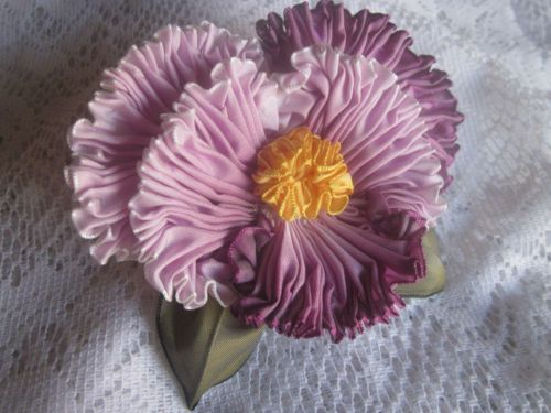 French Ombre Millinery Ribbon Pansy Flower Pin Ribbonwork Corsage   eBay