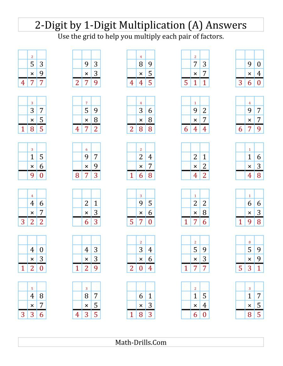 The 2 Digit By 1 Digit Multiplication With Grid Support A Math Worksheet Page 2 Multiplication Worksheets Multiplication Math Worksheets