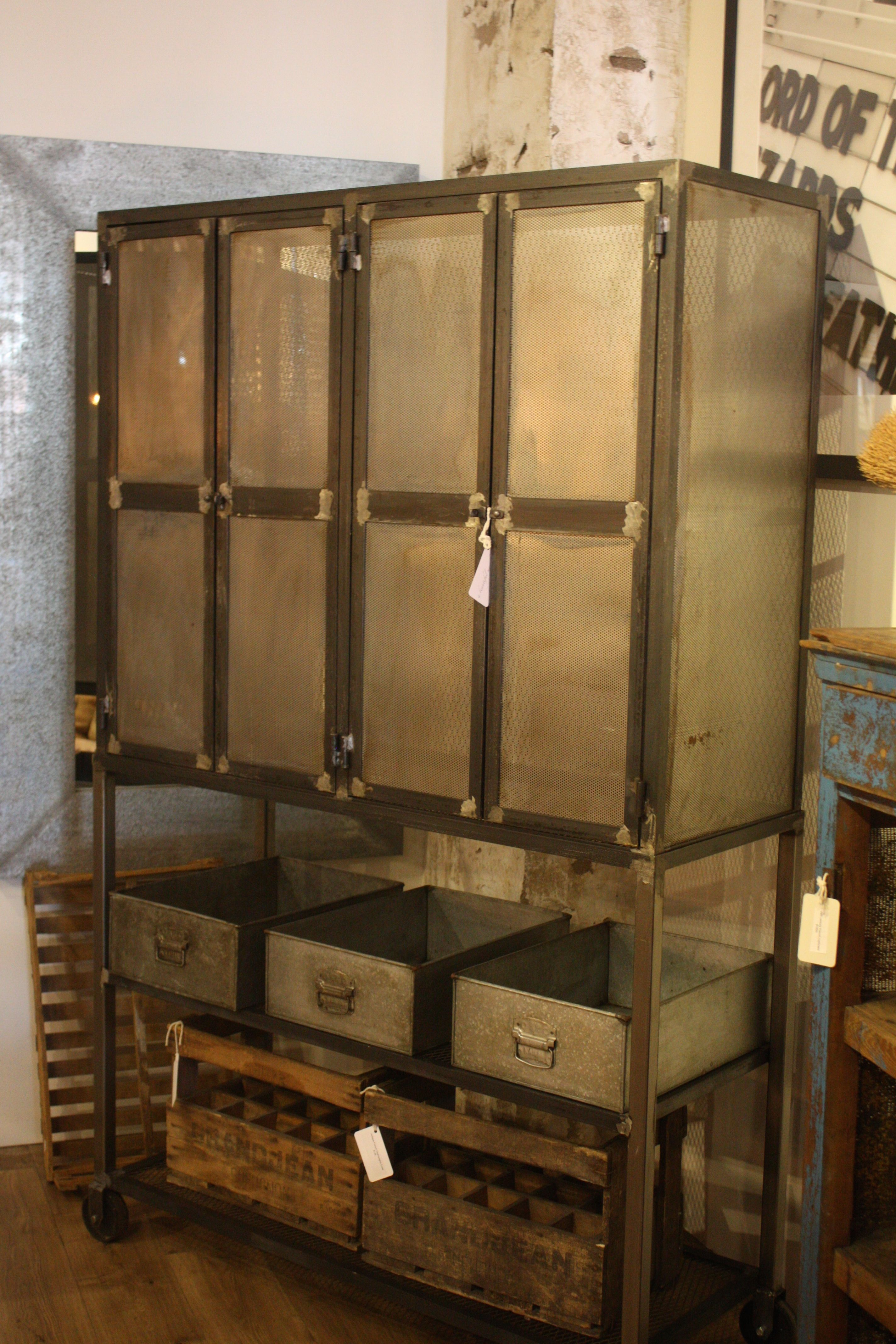 Vintage Industrial Cabinet With Antique French Champagne Crates