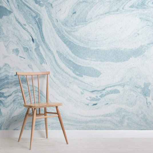 Deep Blue Clouded Marble Wall Mural in 2019 Pink marble