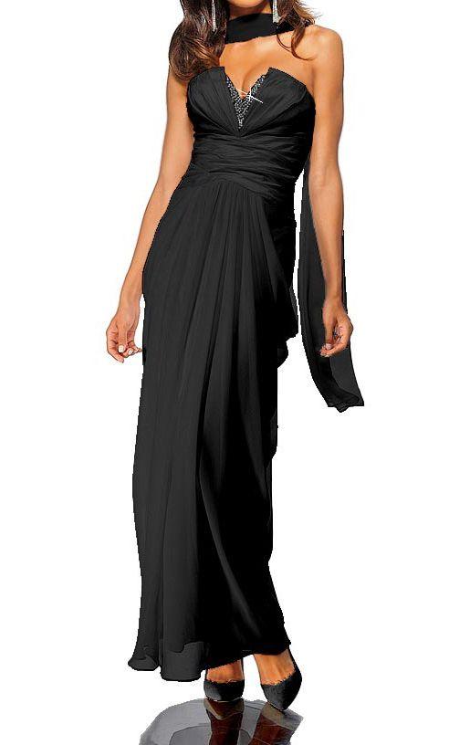 135562720af Robe de soiree bustier avec Chale noir marque Heine par  UnCadeauUnSourire.com