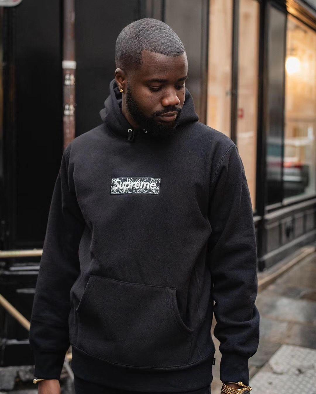 Supreme Bandana Box Logo Hooded Sweatshirt Black It Is Specifically Designed To Celebrate Supreme S 25th Anni Hot Hoodies Streetwear Sale Hooded Sweatshirts [ 1348 x 1080 Pixel ]