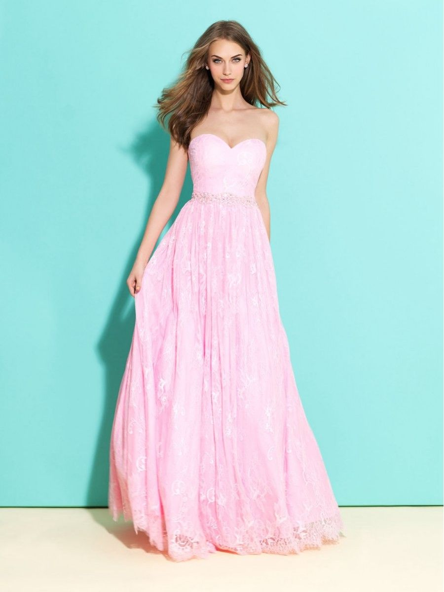 A-Line Sweetheart Lace Long Pink Prom Evening Party Dresses 1004020 ...