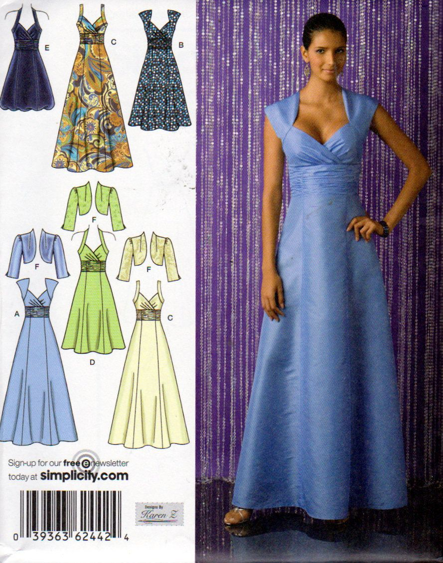 Simplicity 2442 junior bridesmaid dress in 3 lengths bodice simplicity 2442 junior bridesmaid dress in 3 lengths bodice variations and bolero sewing pattern misses size 14 to 22 graduation dress ombrellifo Gallery