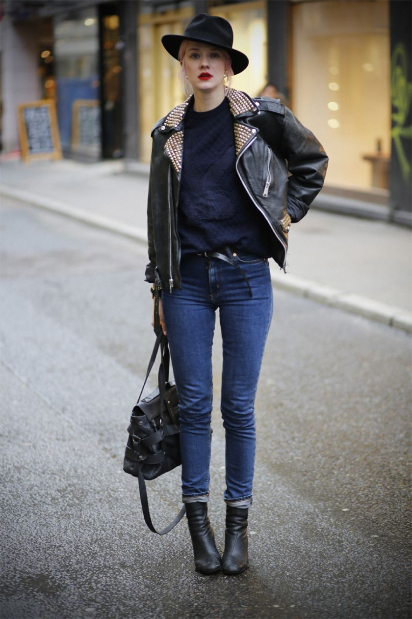 moto/Stella sweater/denim/hat combo. aces. Marianne in Oslo.