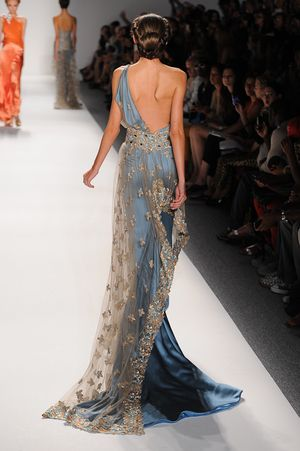 Turquoise, one-shoulder evening gown, with embroidered netting and crystal detail — Globa Moda