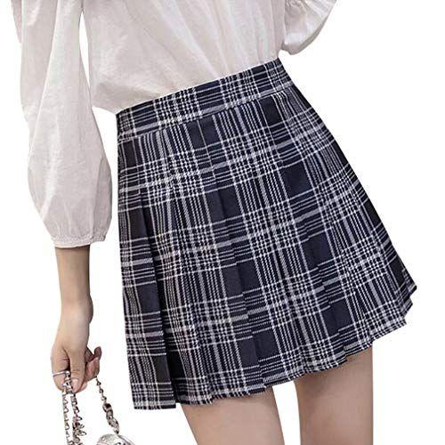 6812d44864 Mxssi Short High Waist Pleated Skater Tennis School Skirt Women Girls Navy  Blue Lattice XL