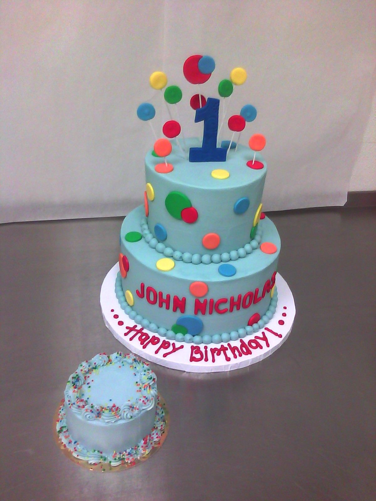 Primary Colored Polka Dotted 1st Birthday Cake Boys 1st