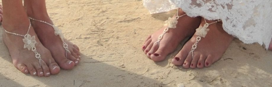 10e79265c490f Beach Wedding Barefoot Sandals with Pearls and Organza Flower Foot Jewelry  for Bride and Bridesmaids.  27.99