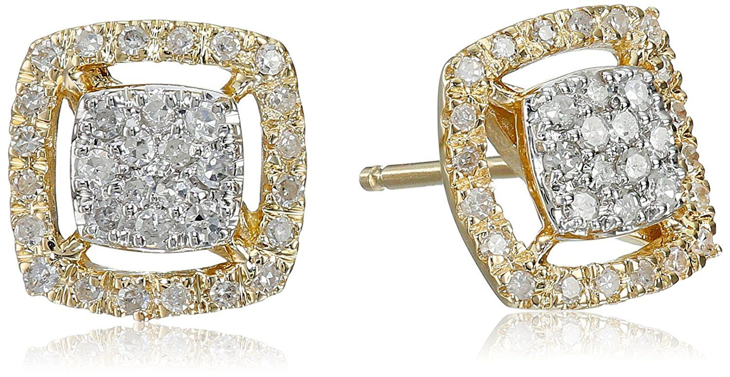 14k Yellow Gold Square Diamond Cer Stud Earrings 1