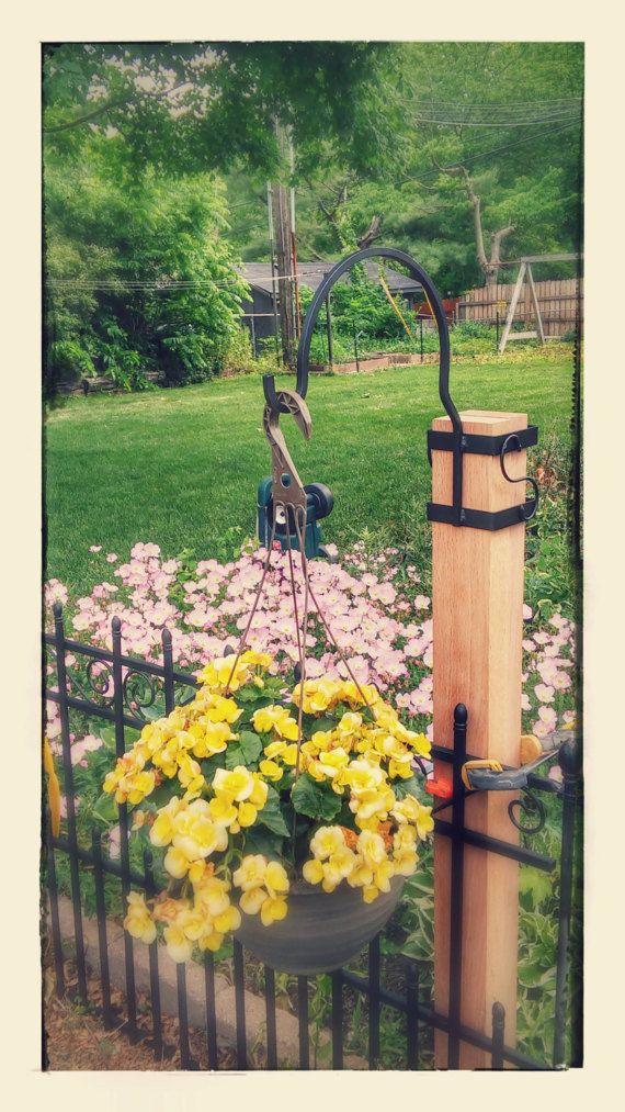 This Handmade Wrought Iron Post Surround Type Shepherds Hook Is
