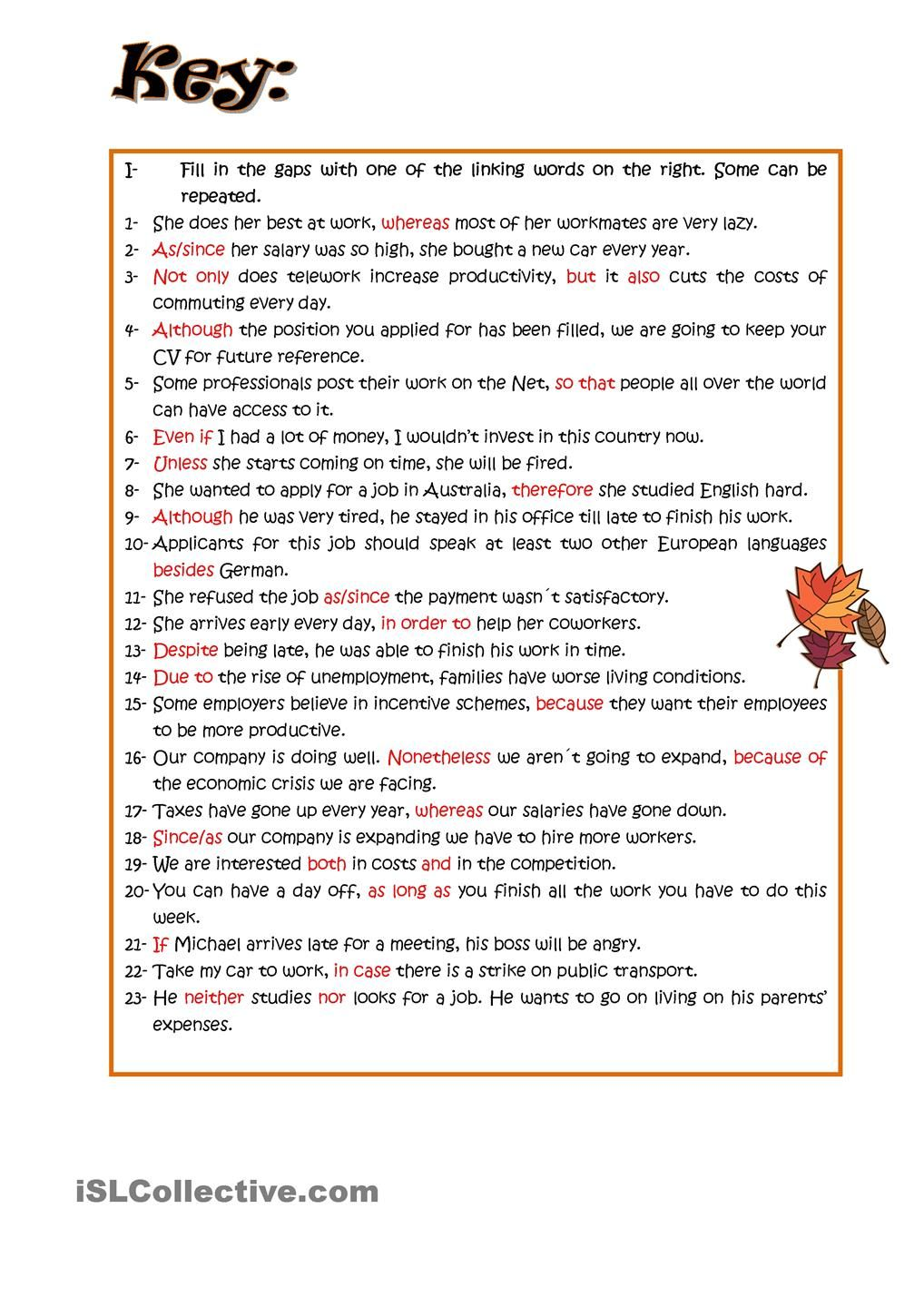 worksheet Worksheets On Connectors In English Grammar connectors linking words esl pinterest worksheets classroom worksheet free printable made by teachers