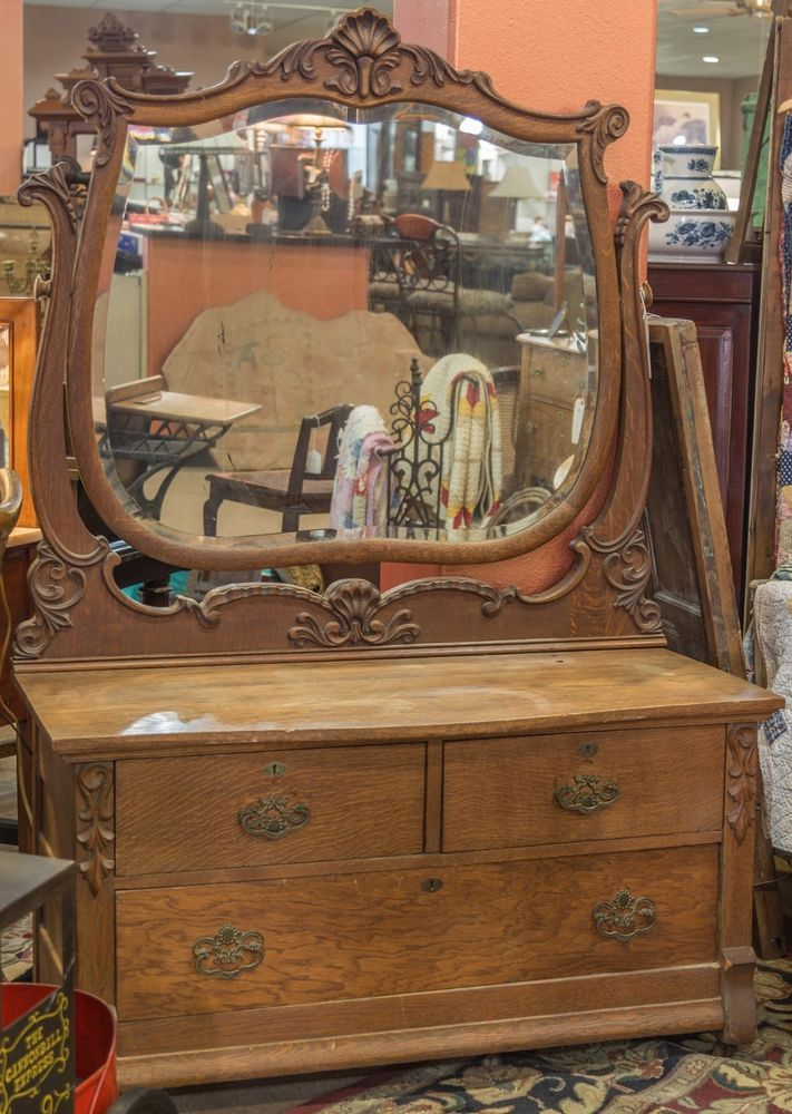 Antique Tiger Oak Dresser With Beveled Mirror Oak
