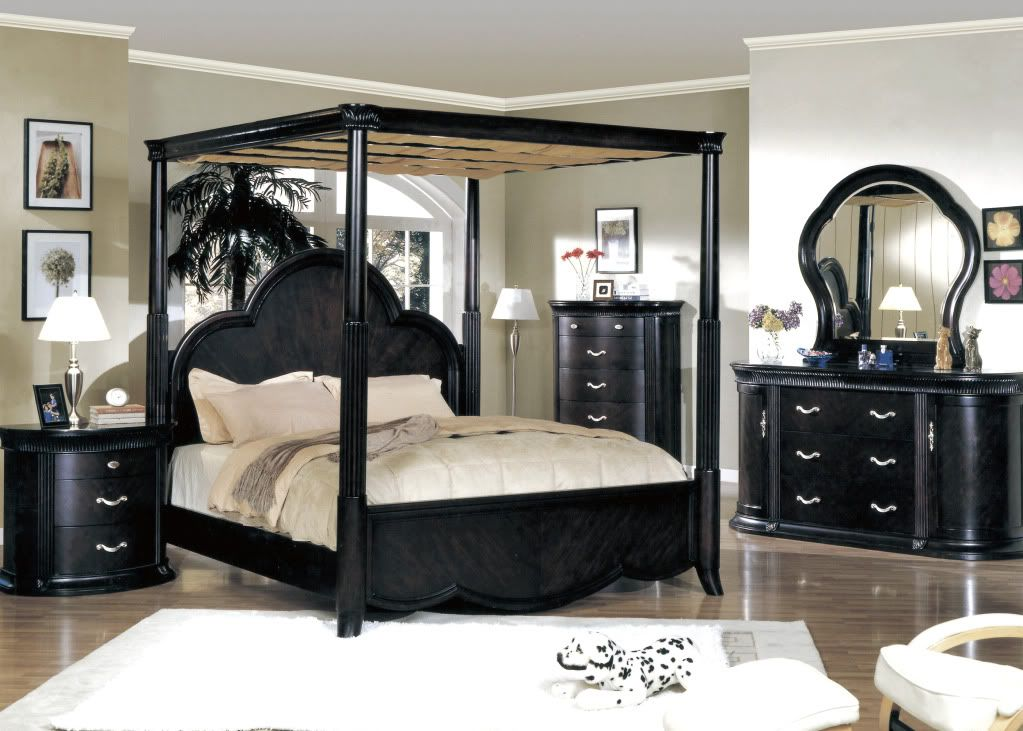 Bon Black Canopy Bedroom Sets
