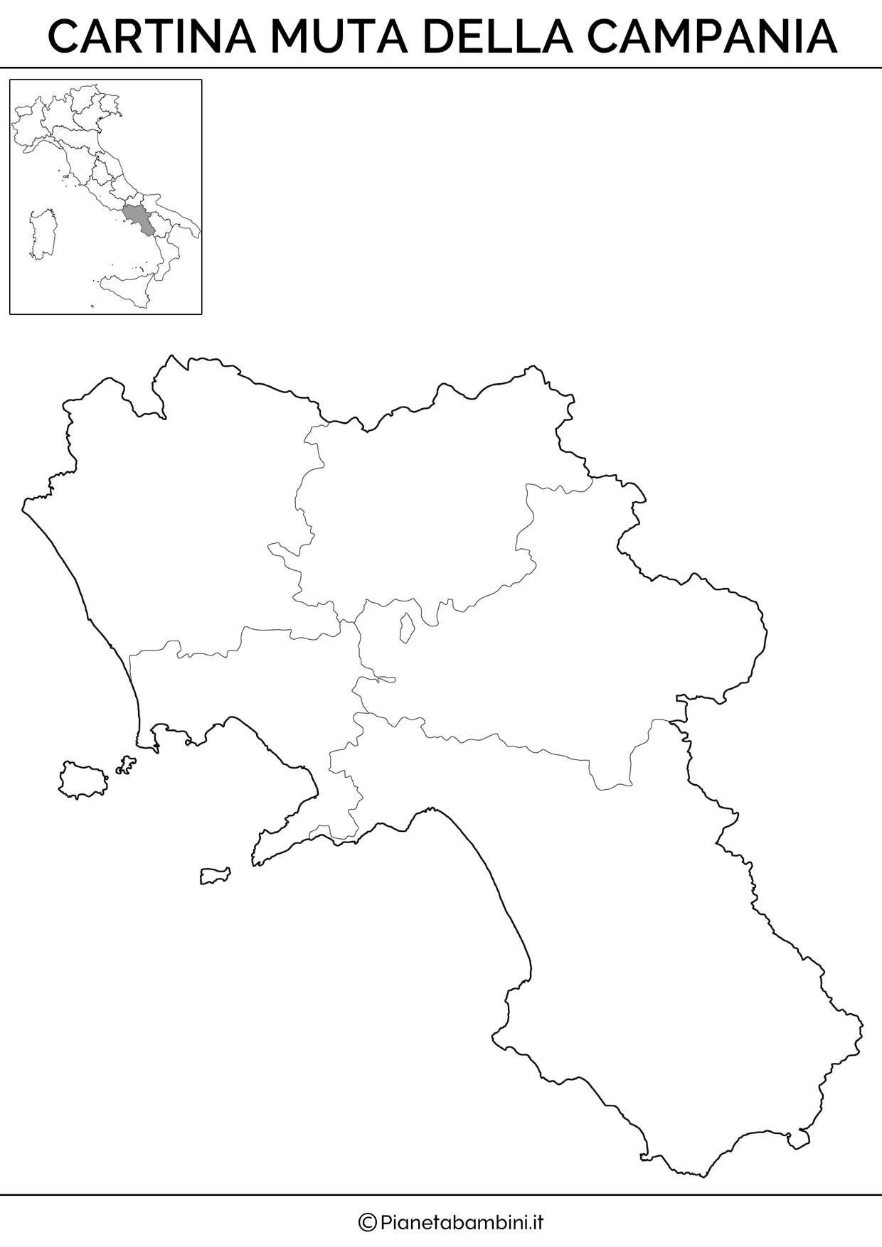 Cartina Muta Fisica E Politica Della Campania Da Stampare