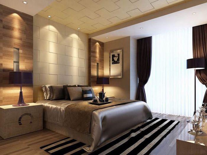 feng shui, schlafzimmer in weiß und braun, großes bett, gardinen