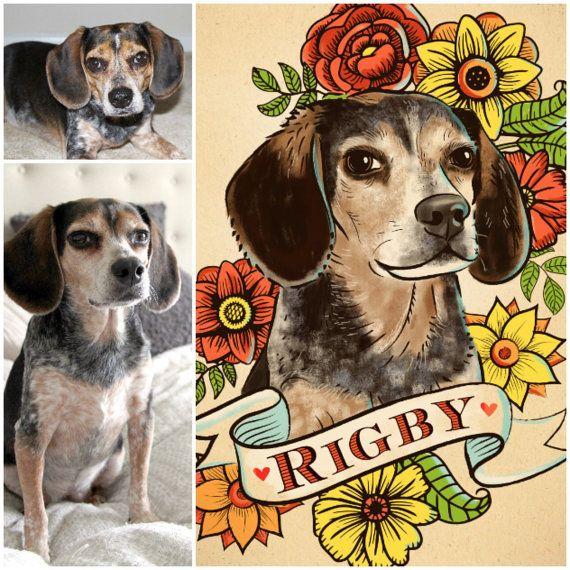 Pet Portrait Custom Dog Portrait Art Print By Kudzumonster On Etsy Dog Portraits Art Custom Dog Portraits Dog Tattoos