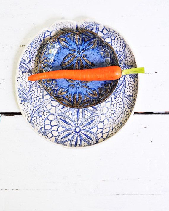 bowl and plate organic textured dinnerware serving by OneClayBead, $30.00