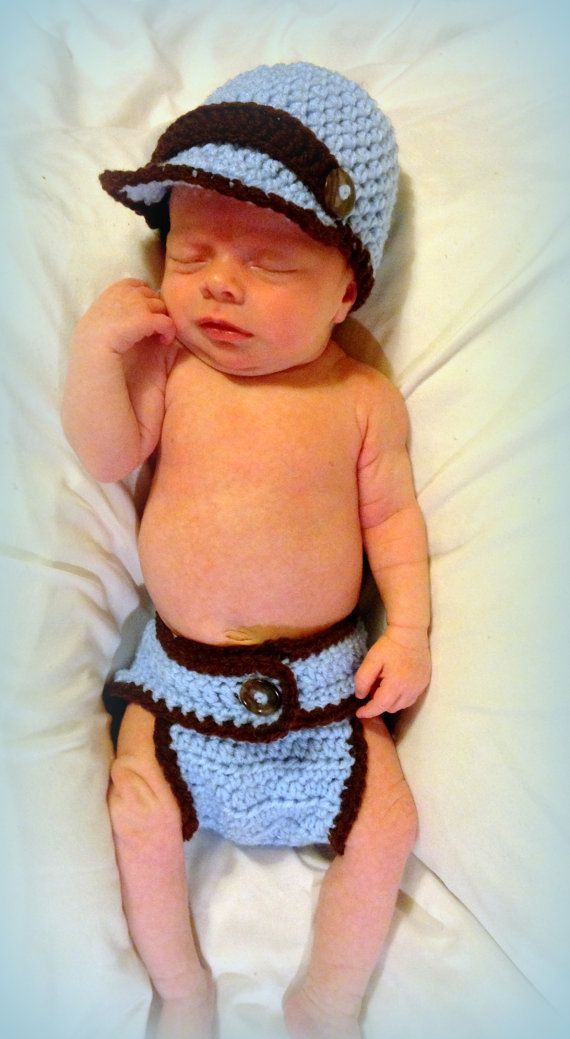 Crochet Newborn baby boy newsie hat and diaper by FreshOffTheeHook ... 5c4a1a26ac8