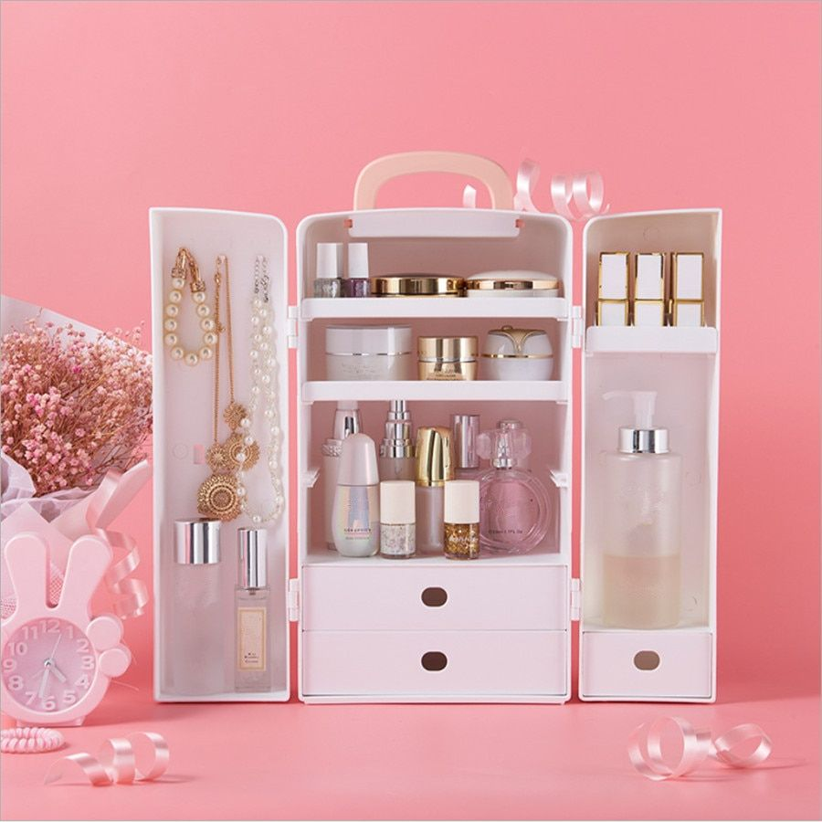 Cute Plastic Makeup Organizer With A Bow Portable Cosmetic Organizer Jewel Box Waterproof Makeup Storage Makeup Storage Box Makeup Organization Makeup Storage