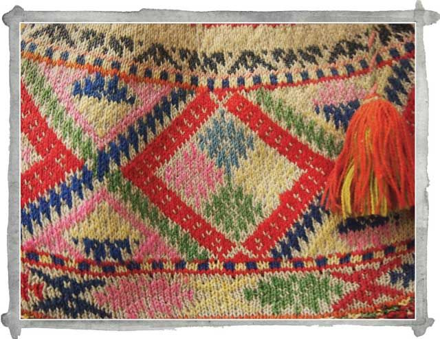 Detail of traditional Peruvian knitted hat