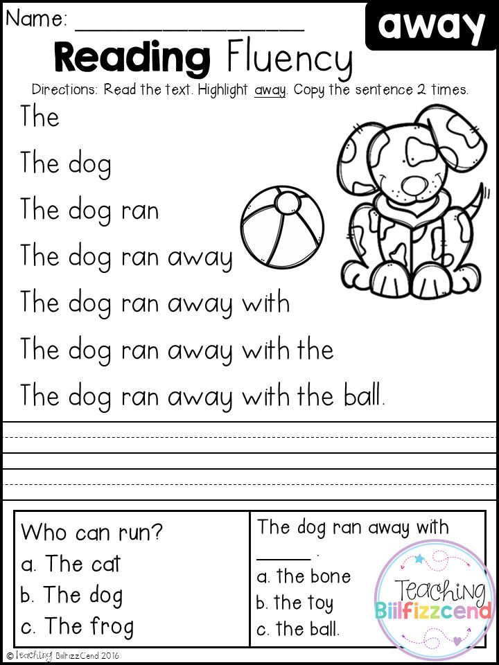Free Kindergarten Reading Fluency and Comprehension Set 1 | First ...