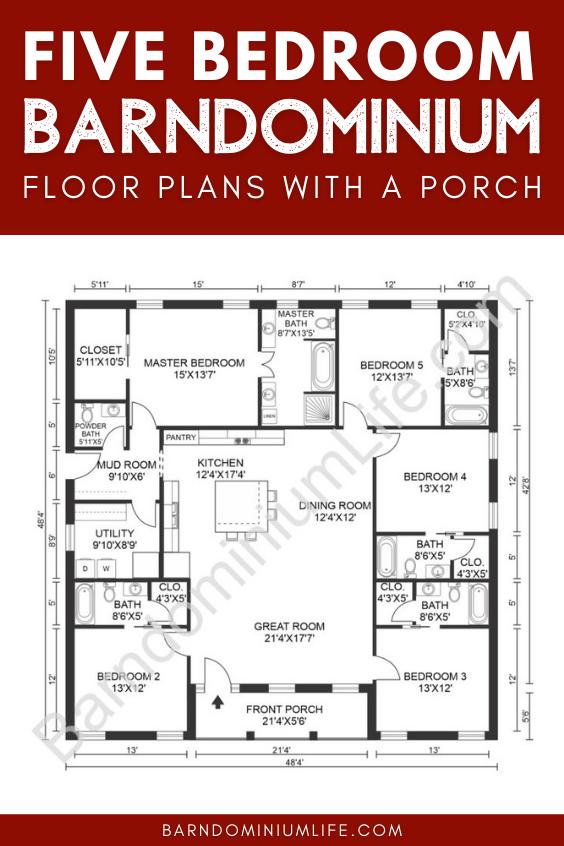 5 Bedroom Barndominium Floor Plan with a Porch