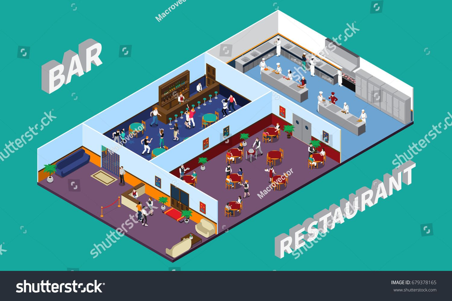 Bar restaurant isometric design with staff and clients hall kitchen ...