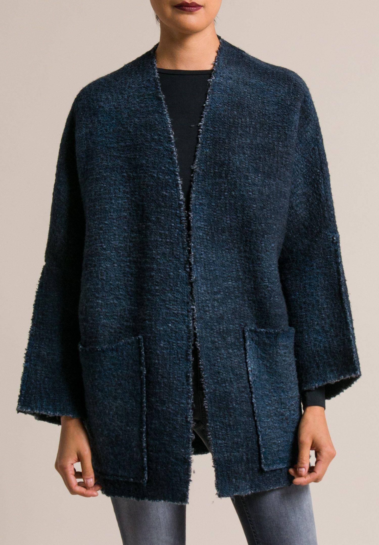 Avant Toi Kimono Cardigan in Blue Navy | clothing | Pinterest ...