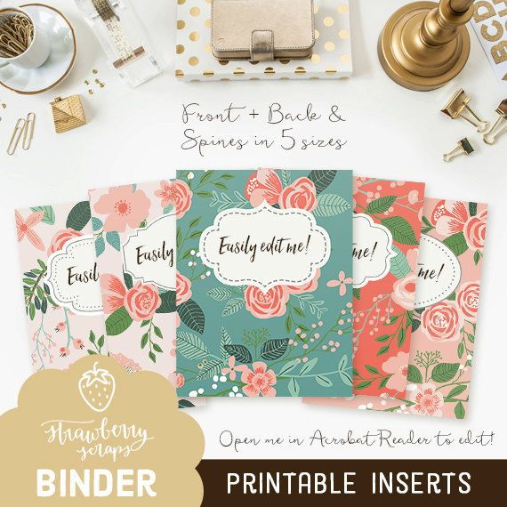 """Binder Cover Printable: """"CORAL FLOWERS"""" 5x Set Covers"""