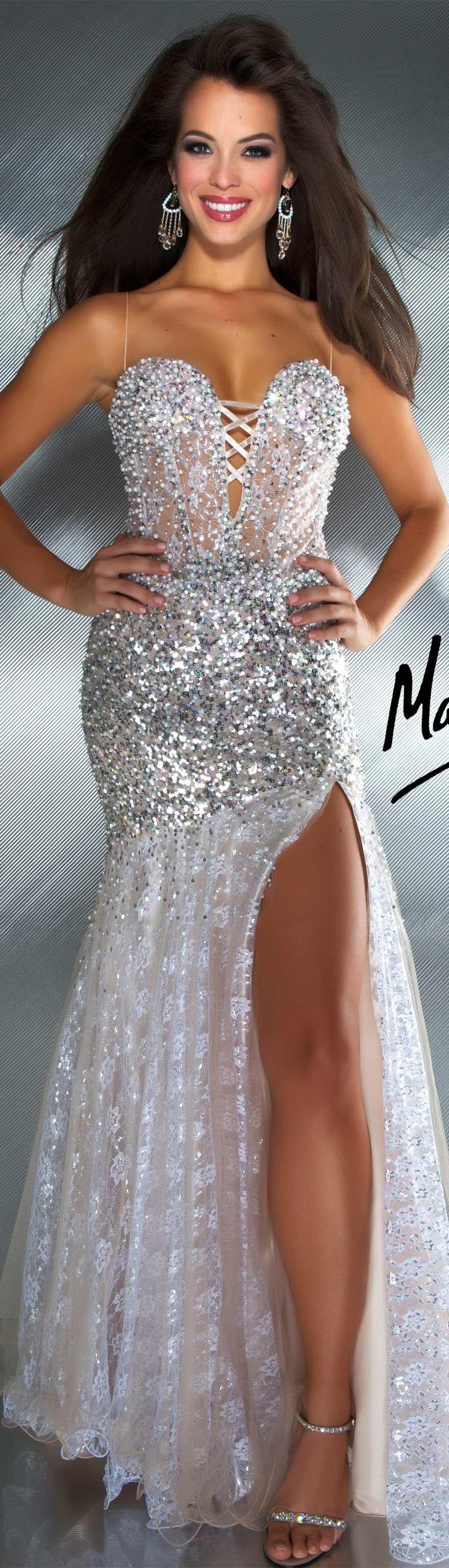 Mac duggal couture dress ivory nude long formal dress glitter