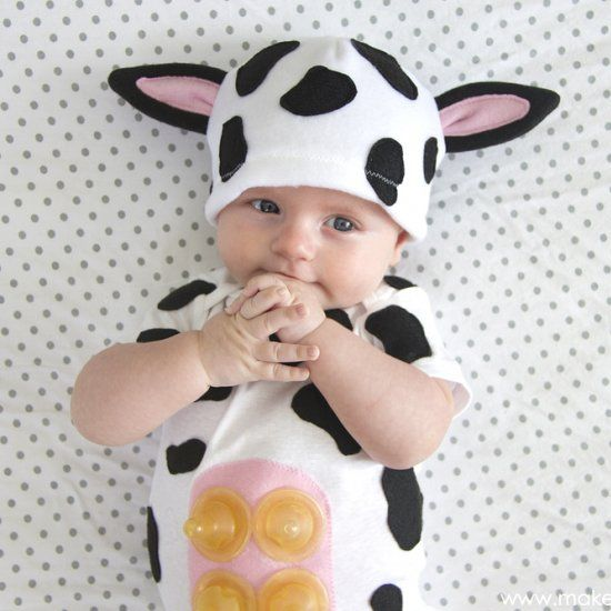 make a cute and humorous little baby cow costumewith an - Baby Cow Costume Halloween