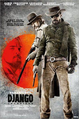 Django Unchained erzählt die Geschichte des Sklaven Django, Hauptcharakter der auch auf vielen Filmplakaten zusehen ist. Mit der Hilfe eines Kopfgeldjägers, versucht er seine Frau, ebenfalls versklavt, zu finden.