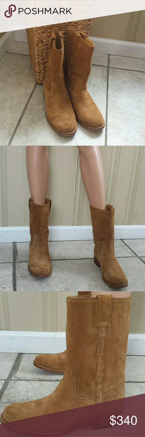 26f303f150d Chanel boots Suede light brown (camel)chanel boots ..logo mid calf ...