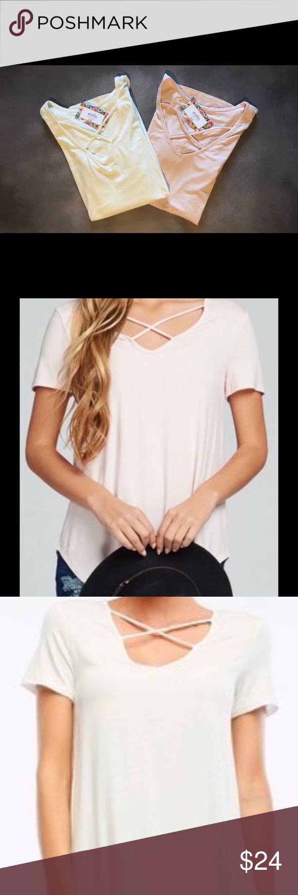 Meet Felicity! White Our New Favorite Top is HEREEEEE! Meet Felicity! This super soft crisscross tee is amazing!!! Made in the USA! 92% Rayon, 8% Spandex! This tee looks 👌🏼 with jeans, shorts and leggings! We love the fit! Comes in BLUSH and WHITE! $24 S-L! Tops