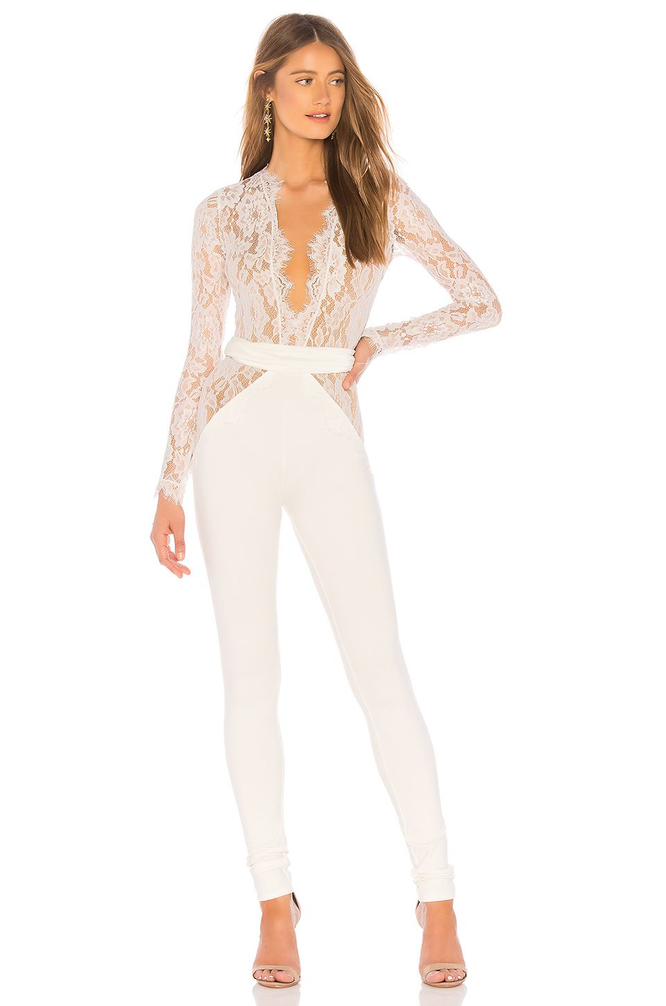 d4355a57fdc Michael Costello x REVOLVE Julian Jumpsuit in Ivory white lace wedding  jumpsuit long sleeve plunging elopement bridal shower engagement party  wedding outfit