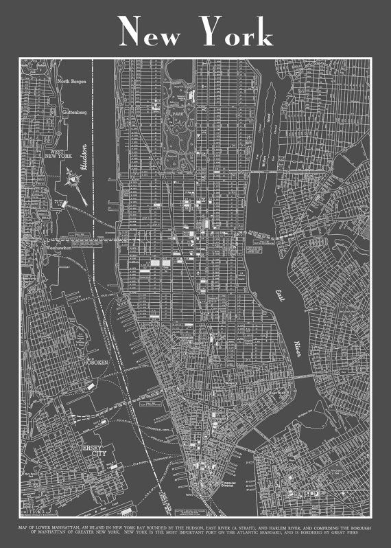 1944 new york city manhattan street map vintage dark by themapshop 2995