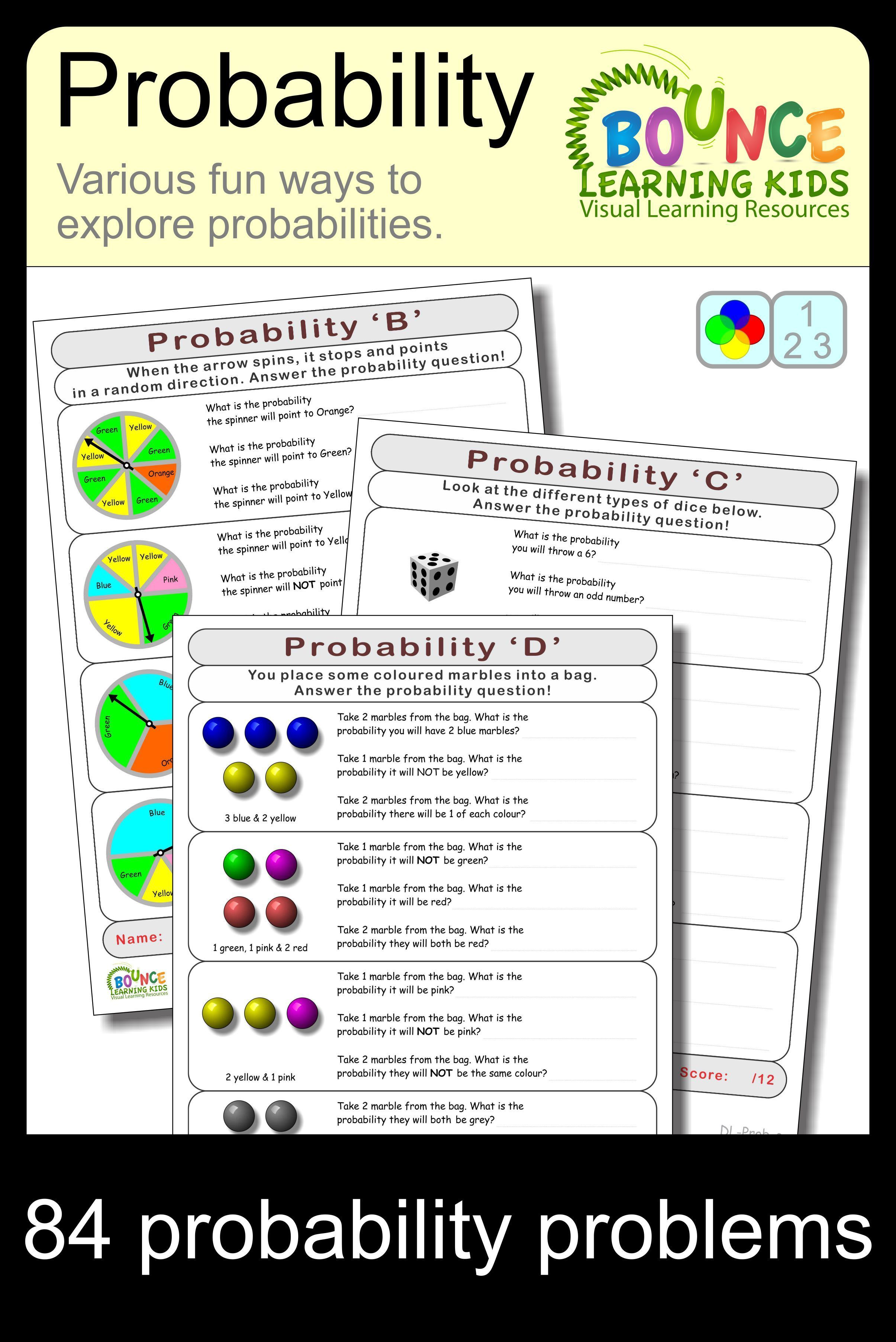 Probability (7 Numeracy sheets) | Math Ideas and Resources