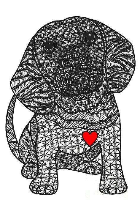 Cabin Fever Boxing Clever Geometric Design De Carol: Th Digger - Dachshund Art Print By Dianne Ferrer